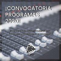 CONVOCATORIA PROGRAMACIÓN 2020.